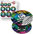 Decal Style Vinyl Skin Wrap 3 Pack for PopSockets Rainbow Plaid Skull (POPSOCKET NOT INCLUDED)