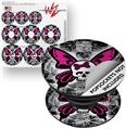 Decal Style Vinyl Skin Wrap 3 Pack for PopSockets Skull Butterfly (POPSOCKET NOT INCLUDED)