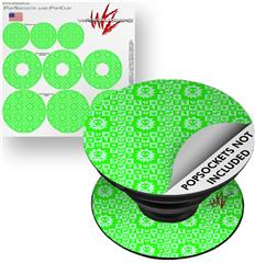 Decal Style Vinyl Skin Wrap 3 Pack for PopSockets Gothic Punk Pattern Green (POPSOCKET NOT INCLUDED)