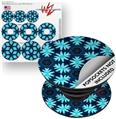 Decal Style Vinyl Skin Wrap 3 Pack for PopSockets Abstract Floral Blue (POPSOCKET NOT INCLUDED)
