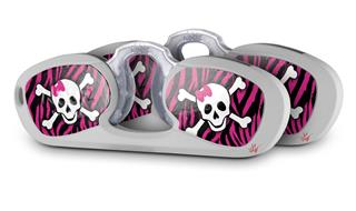 Decal Style Vinyl Skin Wrap 2 Pack for Nooz Glasses Rectangle Case Pink Zebra Skull (NOOZ NOT INCLUDED) by WraptorSkinz