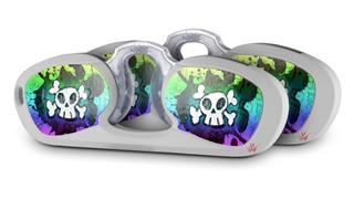 Decal Style Vinyl Skin Wrap 2 Pack for Nooz Glasses Rectangle Case Cartoon Skull Rainbow (NOOZ NOT INCLUDED) by WraptorSkinz