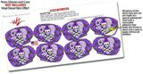 Decal Style Vinyl Skin Wrap 2 Pack for Nooz Glasses Rectangle Case Princess Skull Heart Purple (NOOZ NOT INCLUDED) by WraptorSkinz