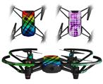 Skin Decal Wrap 2 Pack for DJI Ryze Tello Drone Rainbow Plaid DRONE NOT INCLUDED