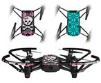 Skin Decal Wrap 2 Pack for DJI Ryze Tello Drone Pink Bow Skull DRONE NOT INCLUDED