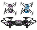 Skin Decal Wrap 2 Pack for DJI Ryze Tello Drone Princess Skull Purple DRONE NOT INCLUDED