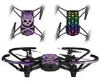 Skin Decal Wrap 2 Pack for DJI Ryze Tello Drone Purple Girly Skull DRONE NOT INCLUDED