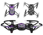 Skin Decal Wrap 2 Pack for DJI Ryze Tello Drone Princess Skull Heart Purple DRONE NOT INCLUDED
