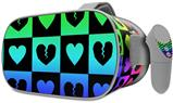 Decal style Skin Wrap compatible with Oculus Go Headset - Love Heart Checkers Rainbow (OCULUS NOT INCLUDED)