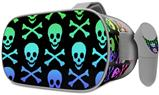Decal style Skin Wrap compatible with Oculus Go Headset - Skull and Crossbones Rainbow (OCULUS NOT INCLUDED)