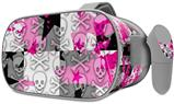 Decal style Skin Wrap compatible with Oculus Go Headset - Checker Skull Splatter Pink (OCULUS NOT INCLUDED)
