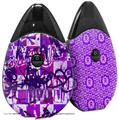 Skin Decal Wrap 2 Pack compatible with Suorin Drop Purple Checker Graffiti VAPE NOT INCLUDED