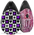 Skin Decal Wrap 2 Pack compatible with Suorin Drop Purple Hearts And Stars VAPE NOT INCLUDED