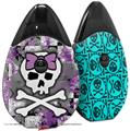 Skin Decal Wrap 2 Pack compatible with Suorin Drop Princess Skull Purple VAPE NOT INCLUDED