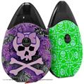 Skin Decal Wrap 2 Pack compatible with Suorin Drop Purple Girly Skull VAPE NOT INCLUDED