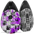 Skin Decal Wrap 2 Pack compatible with Suorin Drop Purple Checker Skull Splatter VAPE NOT INCLUDED