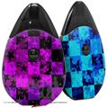Skin Decal Wrap 2 Pack compatible with Suorin Drop Purple Star Checkerboard VAPE NOT INCLUDED