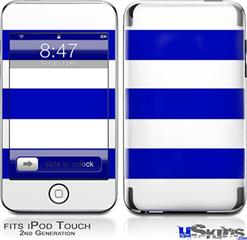 iPod Touch 2G & 3G Skin - Psycho Stripes Blue and White