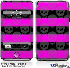iPod Touch 2G & 3G Skin - Skull Stripes Pink