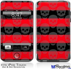 iPod Touch 2G & 3G Skin - Skull Stripes Red