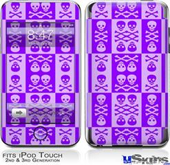 iPod Touch 2G & 3G Skin - Skull And Crossbones Pattern Purple