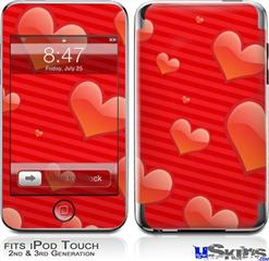 iPod Touch 2G & 3G Skin - Glass Hearts Red
