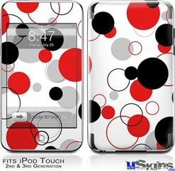 iPod Touch 2G & 3G Skin - Lots of Dots Red on White