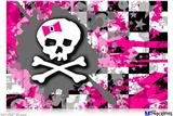 "Poster 36""x24"" - Girly Pink Bow Skull"