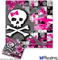Sony PS3 Slim Skin - Girly Pink Bow Skull