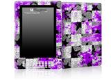 Purple Checker Skull Splatter - Decal Style Skin for Amazon Kindle DX