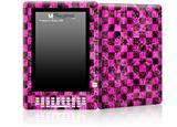 Pink Checkerboard Sketches - Decal Style Skin for Amazon Kindle DX