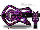 Pink Floral Decal Style Skin - fits Warriors Of Rock Guitar Hero Guitar (GUITAR NOT INCLUDED)