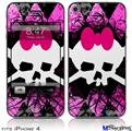iPhone 4 Decal Style Vinyl Skin - Pink Diamond Skull (DOES NOT fit newer iPhone 4S)