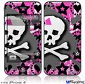 iPhone 4 Decal Style Vinyl Skin - Pink Bow Skull (DOES NOT fit newer iPhone 4S)