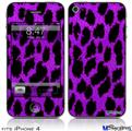 iPhone 4 Decal Style Vinyl Skin - Purple Leopard (DOES NOT fit newer iPhone 4S)