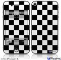 iPhone 4 Decal Style Vinyl Skin - Checkers White (DOES NOT fit newer iPhone 4S)