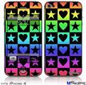 iPhone 4 Decal Style Vinyl Skin - Hearts And Stars Rainbow (DOES NOT fit newer iPhone 4S)