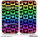 iPhone 4 Decal Style Vinyl Skin - Love Heart Checkers Rainbow (DOES NOT fit newer iPhone 4S)