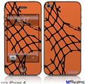 iPhone 4 Decal Style Vinyl Skin - Ripped Fishnets Orange (DOES NOT fit newer iPhone 4S)
