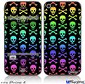 iPhone 4 Decal Style Vinyl Skin - Skull and Crossbones Rainbow (DOES NOT fit newer iPhone 4S)