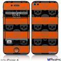 iPhone 4 Decal Style Vinyl Skin - Skull Stripes Orange (DOES NOT fit newer iPhone 4S)