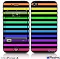 iPhone 4 Decal Style Vinyl Skin - Stripes Rainbow (DOES NOT fit newer iPhone 4S)