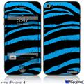 iPhone 4 Decal Style Vinyl Skin - Zebra Blue (DOES NOT fit newer iPhone 4S)