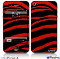 iPhone 4 Decal Style Vinyl Skin - Zebra Red (DOES NOT fit newer iPhone 4S)