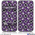 iPhone 4 Decal Style Vinyl Skin - Splatter Girly Skull Purple (DOES NOT fit newer iPhone 4S)
