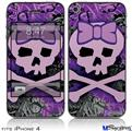 iPhone 4 Decal Style Vinyl Skin - Purple Girly Skull (DOES NOT fit newer iPhone 4S)