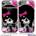 iPhone 4 Decal Style Vinyl Skin - Scene Kid Girl Skull (DOES NOT fit newer iPhone 4S)