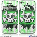 iPhone 4 Decal Style Vinyl Skin - Cartoon Skull Green (DOES NOT fit newer iPhone 4S)