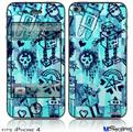 iPhone 4 Decal Style Vinyl Skin - Scene Kid Sketches Blue (DOES NOT fit newer iPhone 4S)