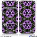 iPhone 4 Decal Style Vinyl Skin - Floral Pattern Purple (DOES NOT fit newer iPhone 4S)